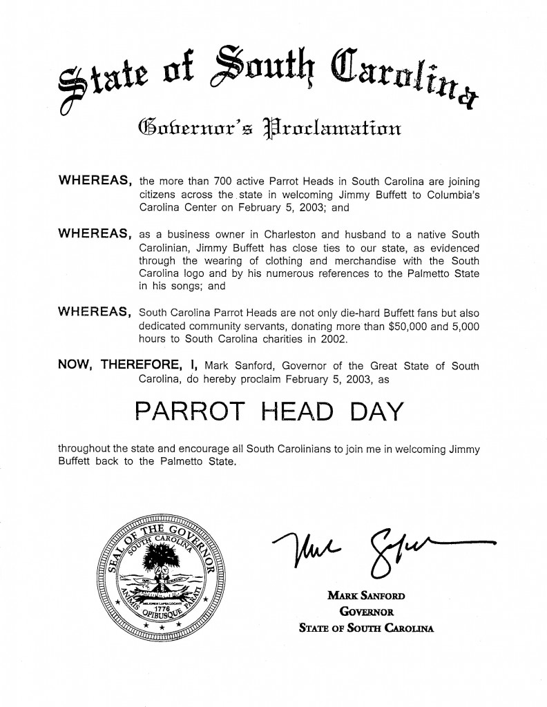 Parrot Head Day in South Carolina (Feb. 5, 2003)